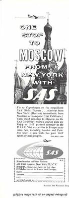 1959 Scandinavian Airlines System 2 Vintage Print Ads SAS, First Over The Pole s