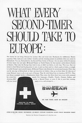 1959 Swiss Air Airlines Vintage Print Ad Fly with Swisscare Non-Stop to Lisbon s
