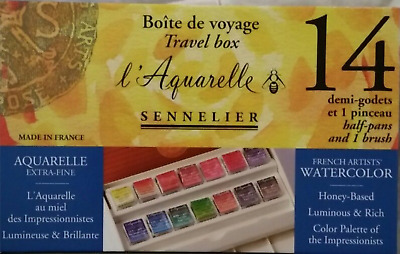 Sennelier L'Aquarelle Artists Watercolour 14 Half Pan Travel Box Pocket Set ART