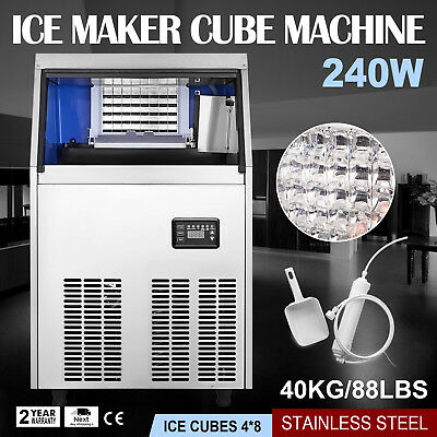 40KG/88LBS Commercial Ice Cube Maker Machine 240W Refrigeration Auto Clean