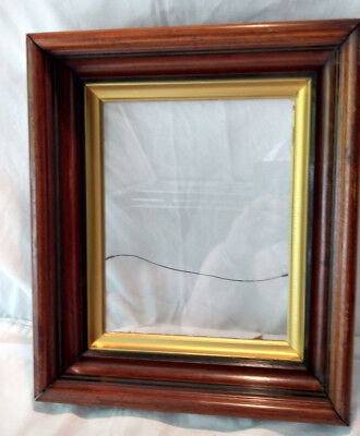 """Antique Solid Wood Picture Frame Glass Shadow Box VTG Gilt Gold Black 14x12"""""""