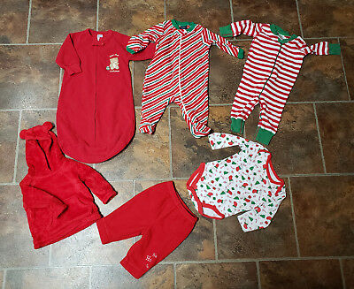 6-9 Months - Nice Christmas Lot of 6 Unisex PJs, Jacket + More