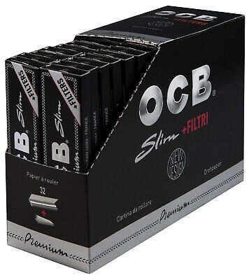 OCB Premium 32 x 32 Slim Blättchen + Filter Tips schwarz | Long Papers King Size
