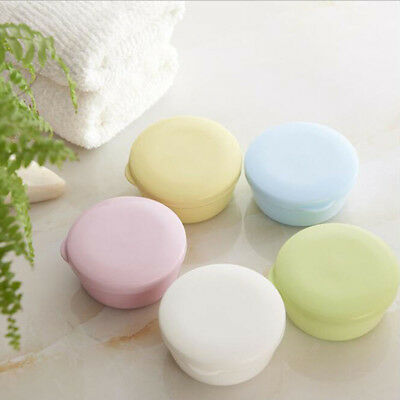 Household Travel Plastic Round Design Washing Soap Holder Container Box Case B