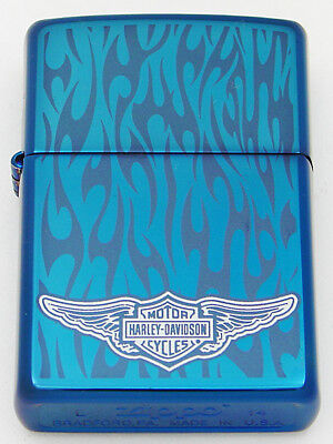 Zippo Lighter 2014 Sapphire Blue Harley Davidson Ghost Flames With Wings