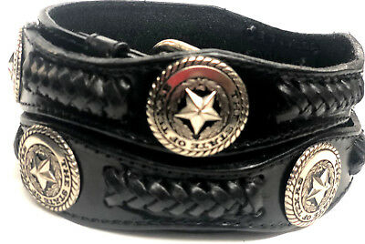 """Western Vintage Hand Laced Genuine Leather Belt Indian Conchos 1-1//2/"""" Wide Brown"""