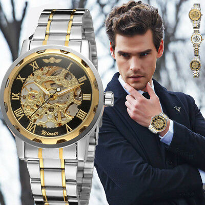 Luxury Gold Dial Mens Skeleton Stainless Steel Band Mechanical Wrist Watch