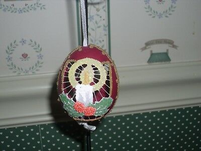 Peter Priess Austrian Christmas Egg Shell Ornament-Cranberry Egg /glitter Candle