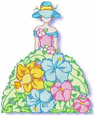 Floral Dolls 10 Machine Embroidery Designs 3 Sizes