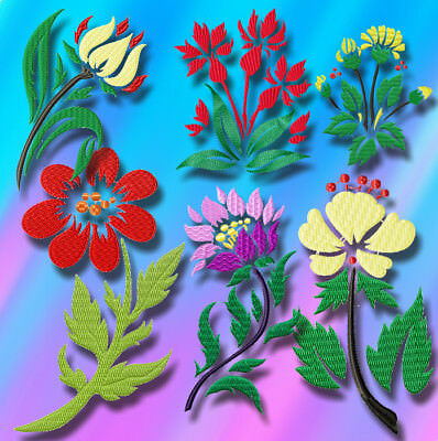 Fetching Flowers 10 Machine Embroidery Designs Cd 4 Sizes Included