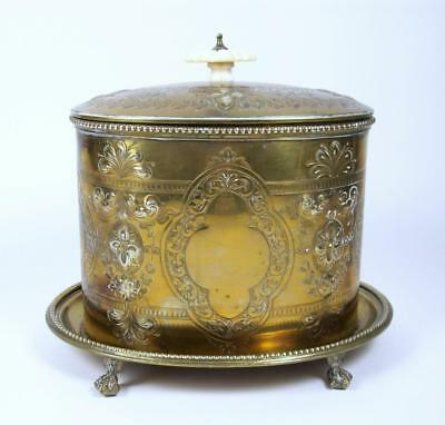 Antique Gilt Brass Tea Caddy Claw Footed Base Hinged Lid Biscuit Barrel Jar