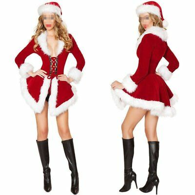 Sexy Ladies Santa Outfit Mrs Claus Costume Christmas Party Fancy Dress With Hat