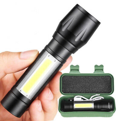 15000Lumens T6+COB LED Tactical USB Rechargeable Zoomable Flashlight Torch Lamp