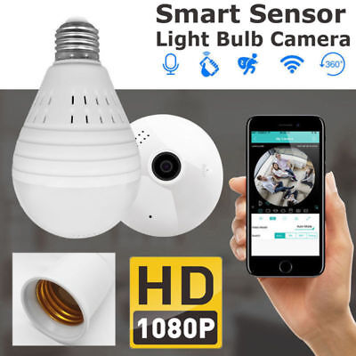 360 Degree Panoramic 1080P HD Hidden Wifi Camera Light Bulb Smart Sensor 5 modes