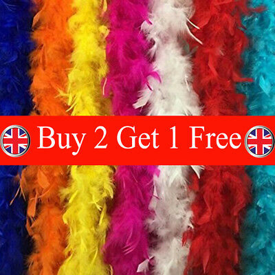 2M Feather Boa Strip Fluffy Craft Costume Fancy Dress Wedding Party Hen Night EA