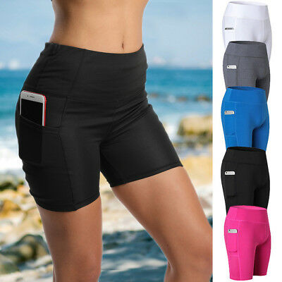 Women Compression Sport Yoga Shorts Pocket Tights Quick Dry Fitness Gym Pants G1
