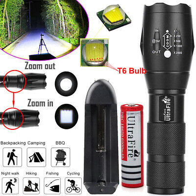 Tactical Light 50000LM T6 LED Flashlight Zoomable Torch + 18650 Battery +Charger