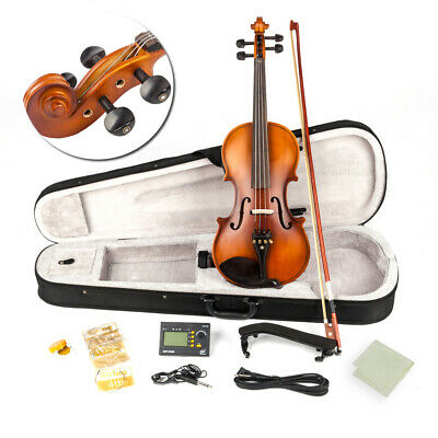 4/4 Full Size Acoustic EQ Violin Fiddle with Bow Rosin Hard Case Black