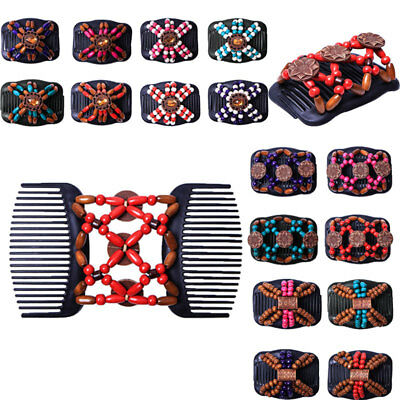 Magic Wood Hair Clip Beads Stretch Double Slide Comb Women Hair Accessories