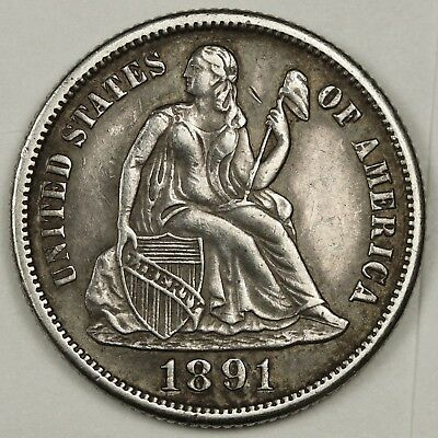 1891-s Liberty Seated Dime.   Strong X.F.  131888