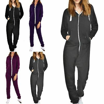 a247ec49a8d Womens Ladies 1Onesie Hoody Front Zip Up Hooded All In One Jumpsuit  Dungarees
