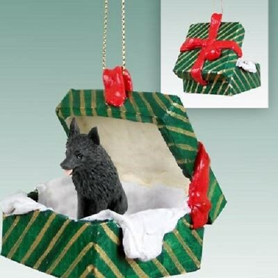 SCHIPPERKE Christmas GREEN GIFT BOX Ornament HAND PAINTED resin FIGURINE Dog NEW