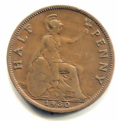 Great Britain 1930 Half Penny Coin - United Kingdom England King George V