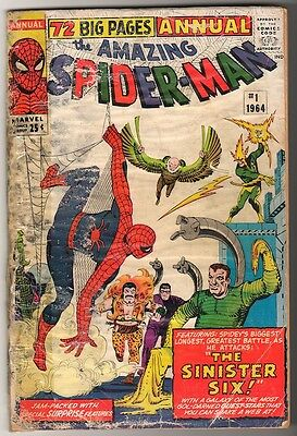 MARVEL  Comics Spiderman king size Annual  #1 1965 AMAZING G 1st SINISTER 6 SIX