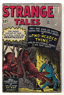 Strange tales  Marvel comics 95 VG+ 4.5 1962 Atlas two headed Thing