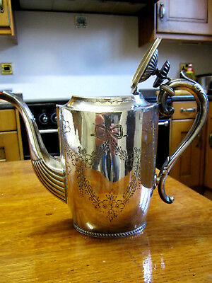 Old Antique c1885 Victorian Silver Plate Teapot No 7141