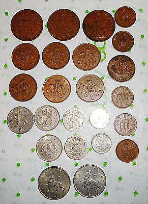 24 LOT Coin Collection UK British Large 2 5 10 20 Pence Half Penny Shilling