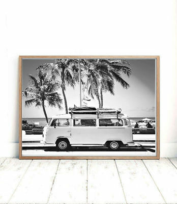 VW van car black and white Beach Print, Photography poster wall art