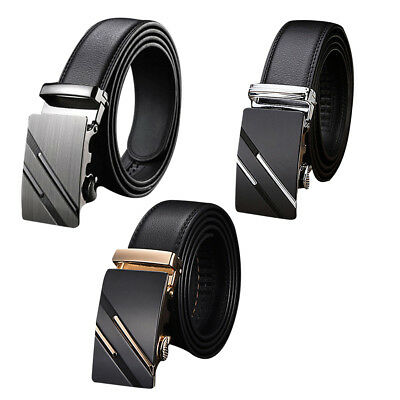 Mens Automatic Belt Buckle Leather Belts Waist Strap Business Waistband Gift UK