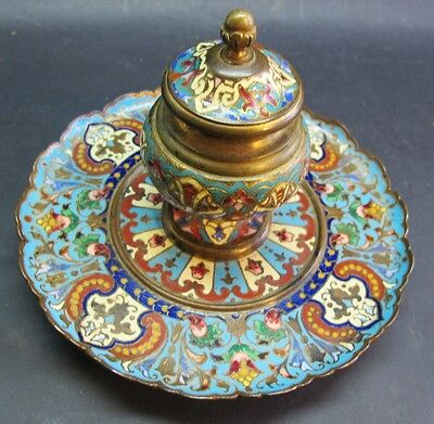 Superb 19th C. FRENCH CHAMPLEVE Enamel Ink Well on Bronze c. 1870s   antique