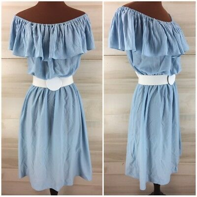 Vintage 70s baby blue ruffled pleated off shoulder casual boho party dress S M