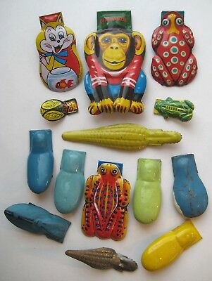 VINTAGE Antique Old TIN LITHO Noise Maker CLICKER Lot Animals~Bugs~Frogs