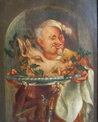 "Rare 17th C. FRENCH OIL PAINTING on Wood ""Chef w/ Boar""  c. 1675  antique"