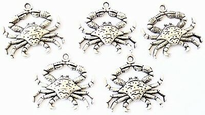 12 Antique Silver Crab Animal Charms- Beading Supplies