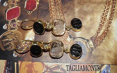 TAGLIAMONTE(627)Trilogy Earrings*YGP925*2 Black~1 Clear Venetian Cameo/Intag.