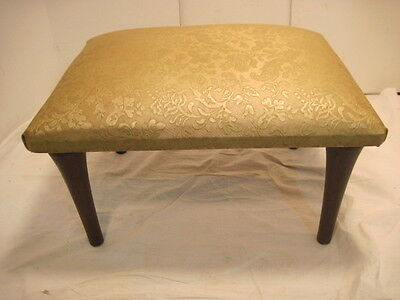 "Old Wood Wooden Padded  Stool Padded Foot Stool Bench Seat 11"" Tall Furniture"