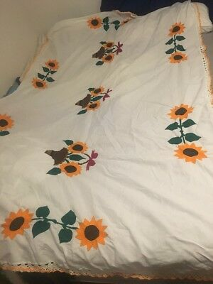 Handmade Embroidered Mexican Tablecloth, Sunflowers, Incredible Detail HOLIDAYS