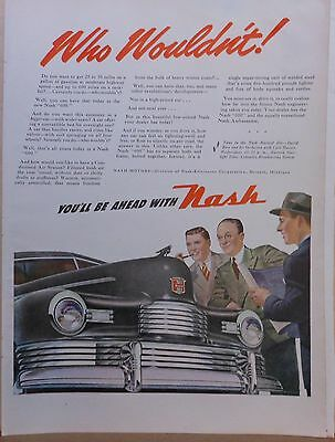 1946 magazine ad for Nash - gray Nash 600 front grille and admirers