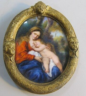 Fine 19th C. FRENCH ENAMEL Plaque Painting w/ Mother & Child  c. 1870  antique