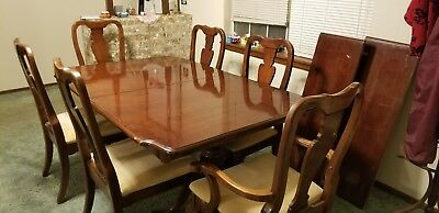 CHERRY WOOD DINING room table/ leaf extens. & 6 chairs ...