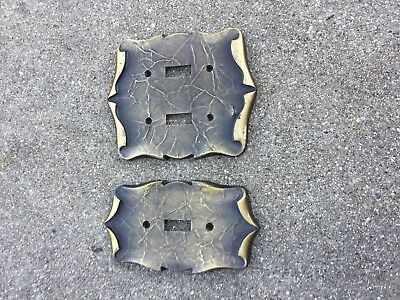 2 Vintage Amerock Carriage House Antique Brass Light Switch Cover Plate