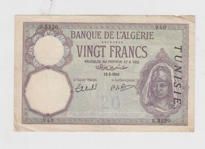 Tunisis Paper Money one old note fine