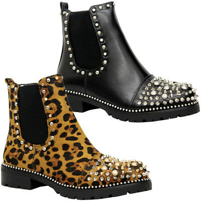 0947fa0335c Ladies Women Chunky Block Heels Goth Punk Studded Chelsea Ankle Boots Shoes  Size