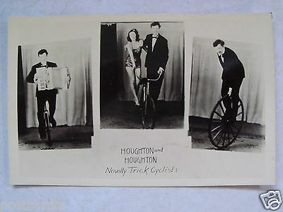 RPPC HOUGHTON & HOUGHTON NOVELTY TRICK CYCLISTS ACT 1950's REAL PHOTO POSTCARD