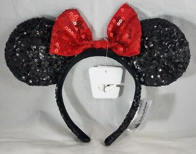Disney Parks Minnie Mouse Ears Hat Headband Black Red Sequin Bow - NEW