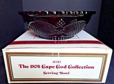 """Avon Cape Cod Collection Ruby Glass Serving Bowl 8.5"""""""
